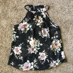 Black and Pink Floral Sheer Tank Top
